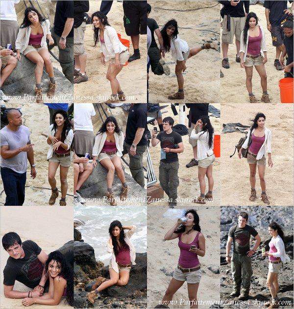 10.11.2010 // Vanessa continue de travailler sur une plage à Oahu à Hawaii sur les tournages de scènes de « Journey 2 : The Mysterious Island » en compagnie de ses co- stars, dont Josh Hutcherson . Elle a également été vue rigolant, dansant sur de la musique et faisant des photos entre les tournages de scènes