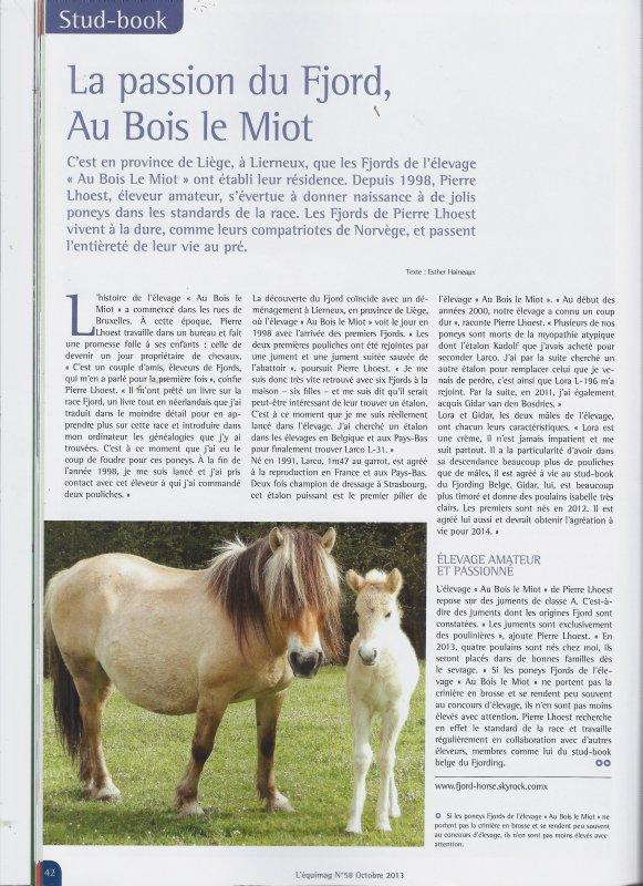 """Article sur l'élevage de fjords """"Au Bois le Miot"""" en octobre 2013"""