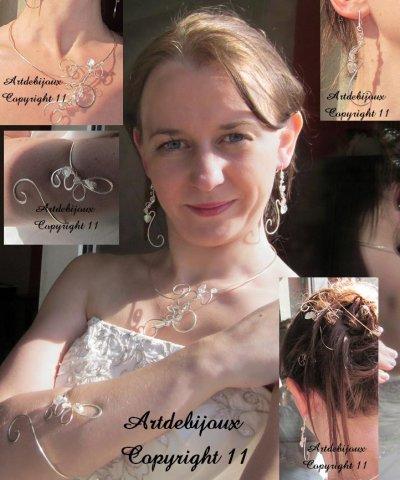 Bijoux volutes mariée mariage en argent plaqué et perles