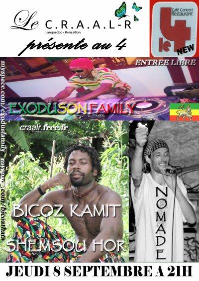 JEUDI 8 SEPTEMBRE 2011 - 21H  BICOZ KAMIT SHEMSOU HOR et NOMADE en tournée / Selecta EXODUSON FAMILY