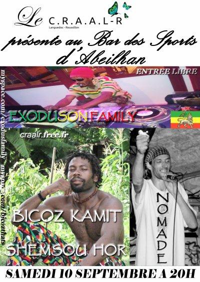 SAMEDI 10 SEPTEMBRE 2011 - 20H  BICOZ KAMIT SHEMSOU HOR et NOMADE / Selecta EXODUSON FAMILY