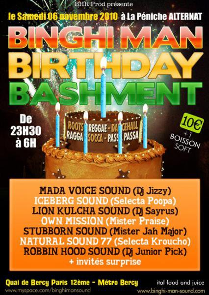 06/11 2k10 Binghi Man Birthday Bashment @ Péniche Alternat