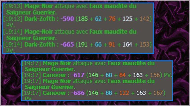Mage-Noir attaque avec Faux maudite du Saigneur Guerrier. (Mage)