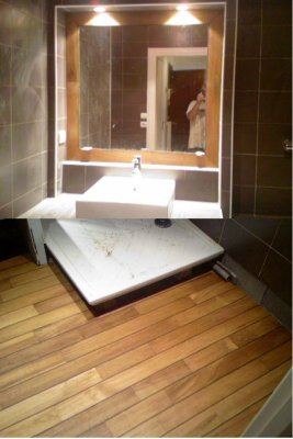voila une salle de bain avec un parquet pont de bateau l 39 entourage du miroir assorti blog de. Black Bedroom Furniture Sets. Home Design Ideas