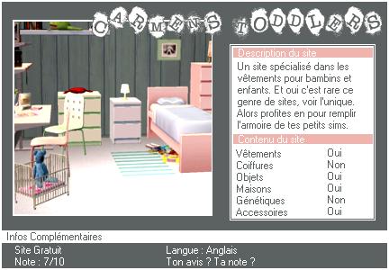 _____» ARTICLE SITES : Carmen's Toddler____________'_____________________LIVRE D'OR  - AMIS  - FAVORIS - BLOG STAR ?_ A4S_Ta source n°1 de téléchargements Sims 2___________________________NEWSLETTER DU BLOG - SOMMAIRE - FORUM A4S