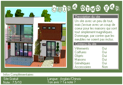 _____» ARTICLE SITES : China Sims Fan________________________-___________LIVRE D'OR  - AMIS  - FAVORIS - BLOG STAR ?_ A4S_Ta source n°1 de téléchargements Sims 2___________________________NEWSLETTER DU BLOG - SOMMAIRE - FORUM A4S