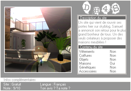 _____» ARTICLE SITES : Download House 4 Sims__________________________LIVRE D'OR  - AMIS  - FAVORIS - BLOG STAR ?_ A4S_Ta source n°1 de téléchargements Sims 2___________________________NEWSLETTER DU BLOG - SOMMAIRE - FORUM A4S