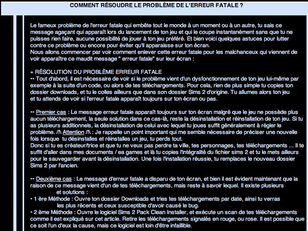 _____» ARTICLE ASTUCE : Comment résoudre le problème de l'erreur fatale ?___________-_LIVRE D'OR  - AMIS  - FAVORIS_ A4S_Ta source n°1 de téléchargements Sims 2___________________________NEWSLETTER DU BLOG - SOMMAIRE - FORUM A4S