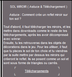 _____» ARTICLE ASTUCE : Comment créer un reflet miroir sur son sol ?___________________LIVRE D'OR  - AMIS  - FAVORIS_ A4S_Ta source n°1 de téléchargements Sims 2___________________________NEWSLETTER DU BLOG - SOMMAIRE - FORUM A4S