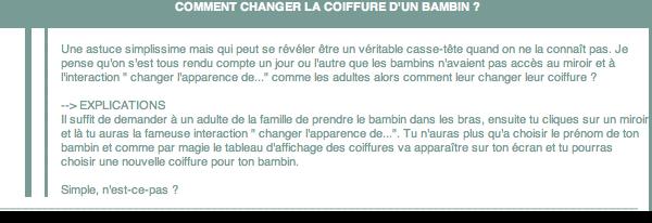 _____» ARTICLE ASTUCE : Comment changer la coiffure d'un bambin ?_________________________________________________ A4S_Ta source n°1 de téléchargements Sims 2___________________________NEWSLETTER DU BLOG - SOMMAIRE - FORUM A4S