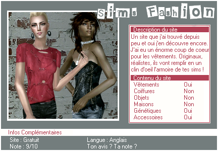 _____» ARTICLE SITES : Sims Fashion'___._____________________________________LIVRE D'OR  - AMIS  - FAVORIS - BLOG STAR ?_ A4S_Ta source n°1 de téléchargements Sims 2______________________________________________________________