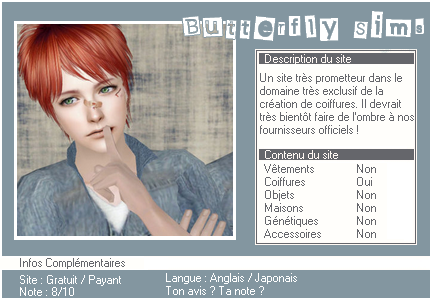 _____» ARTICLE SITES : Butterfly Sims'___._____________________________________LIVRE D'OR  - AMIS  - FAVORIS - BLOG STAR ?_ A4S_Ta source n°1 de téléchargements Sims 2______________________________________________________________