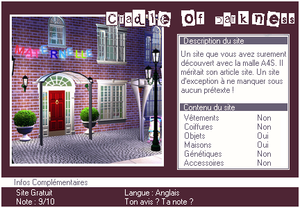 _____» ARTICLE SITES : Cradle of Darkness'__________________________________LIVRE D'OR  - AMIS  - FAVORIS - BLOG STAR ?_ A4S_Ta source n°1 de téléchargements Sims 2______________________________________________________________