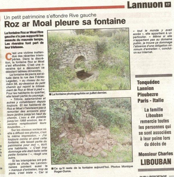 Adieu Fontaine ...