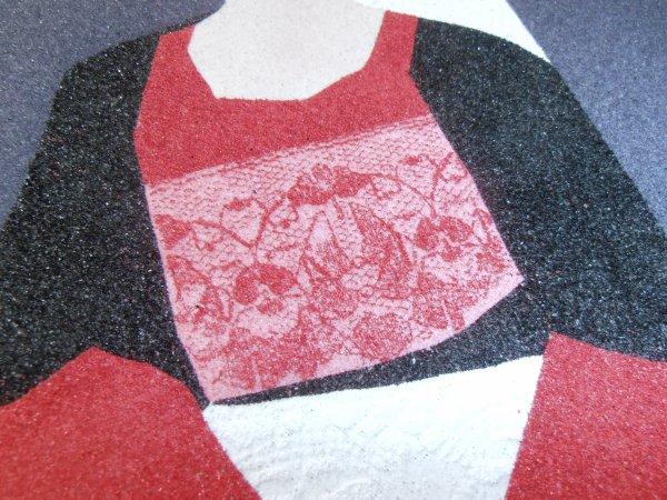 Dernier tableau que j'ai réalisé en sable : Bigoudène et ses dentelles