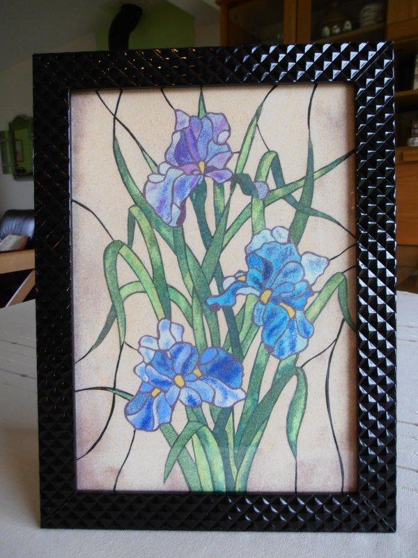Les Iris bleus - Tableau de sable -