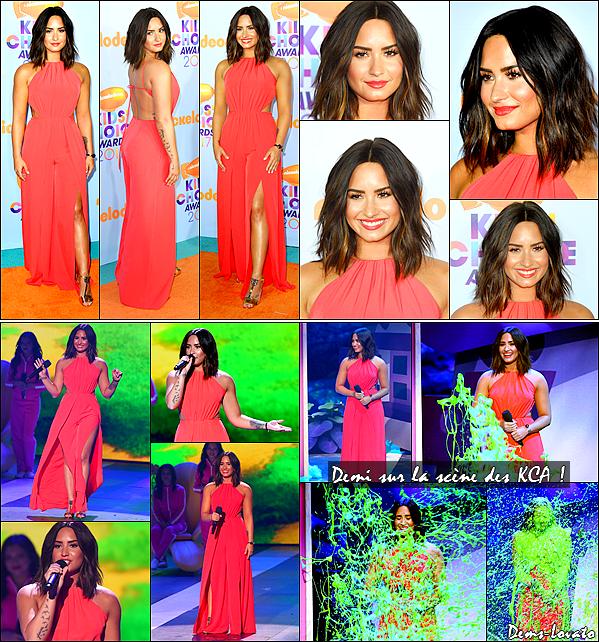 11/03/17 - Demi Lovato s'est rendu à la cérémonie des Kids Choice Awards où elle s'est fait slimé à Los Angeles.