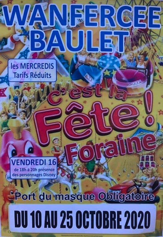 la foire Wanfercée-Baulet 2020 aura leui du 11 octobre a 25 otobre redution tot les mercredi et des personnae le vendredi 16