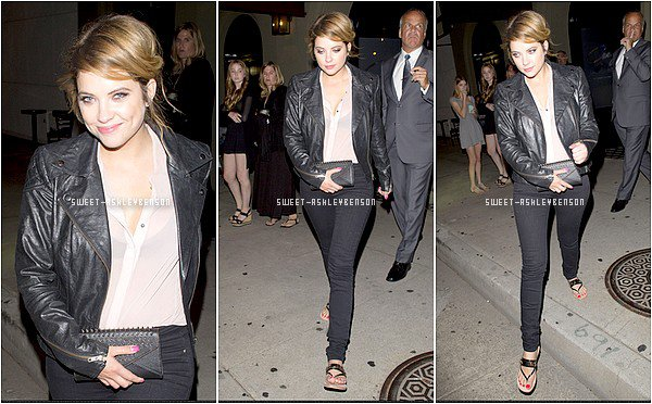 ♦ Août 2013: Après la cérémonie des Teen Choice Awards, Ashley a été photographiée, très souriante, alors qu'elle quittait le restaurant Craig's à West Hollywood avec son ex petit-ami Ryan Good.