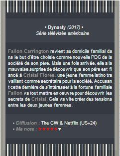MagicCurse ~ Série : Dynasty (2017)._--_______________________________________Création | Décoration | [a=]Newsletter
