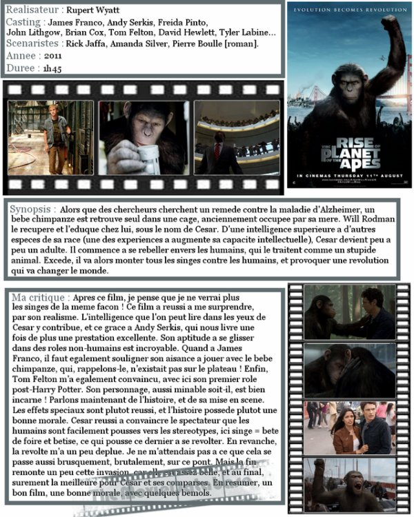 Film - La Planete des Singes : Les Origines