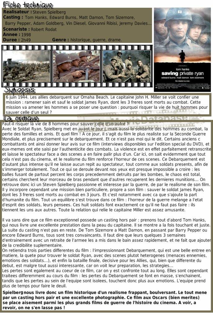 Film - Il Faut Sauver le Soldat Ryan