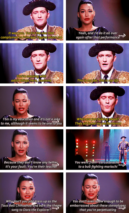 Glee Saison 3 - Ep 12 - The Spanish Teacher - Santana donne une leçon à Mr Schuester