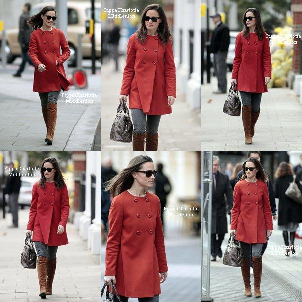 30.11.11: Pippa, ses lunettes de soleil et son portfolio rentrant du travail.