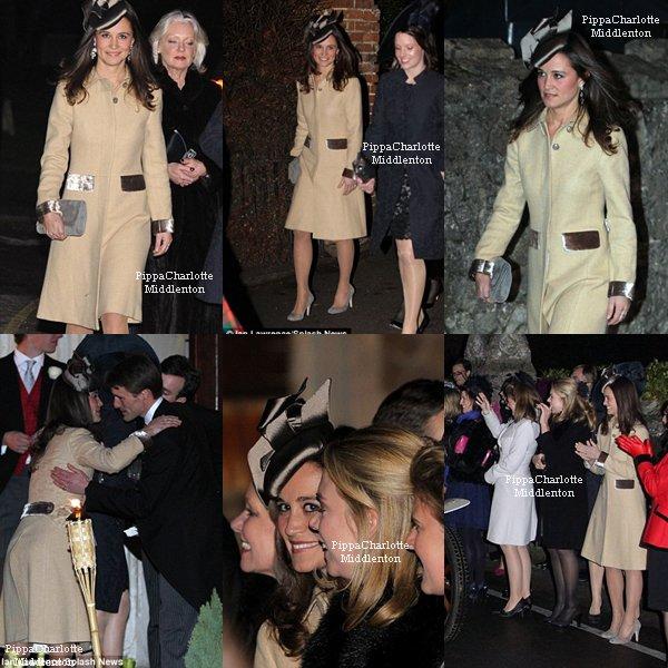 10.12.11: Hier soir Pippa s'est rendue au mariage de ses amis de l'unversité à Suffolk
