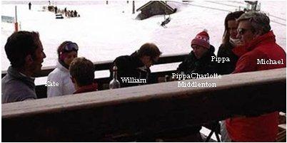 29.03.12: Hier un jeune homme a poster cette photo de Kate, Pippa et de leur père, alors qu'ils déjenaient sur une terrasse des pistes de ski des Alpes. Je pense que Pippa est celle en bleu.