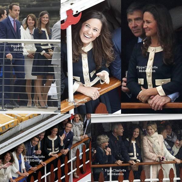 03.06.12: Pippa et sa famille ont assisté à la parade des navires pour le jubilé de la reine.