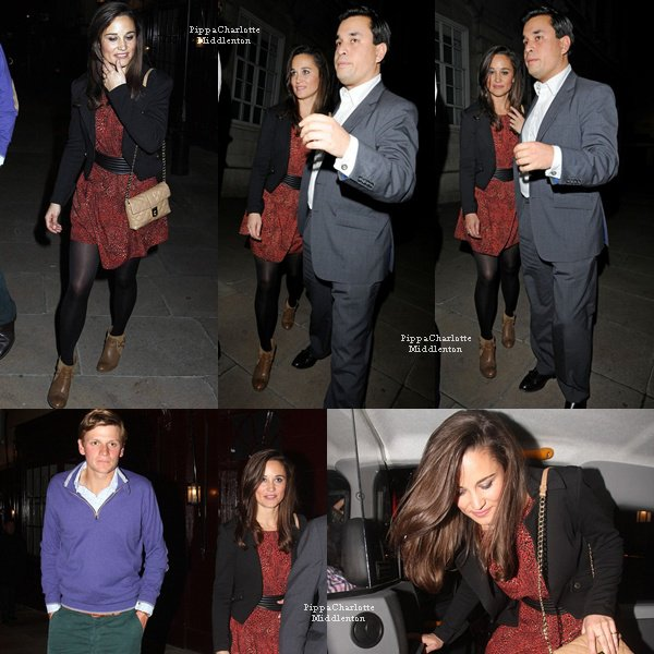 """10.10.12: Pippa sortant d'une soirée privée du club """"Loulou's"""" dans Mayfair, sa soeur était présente avec William"""