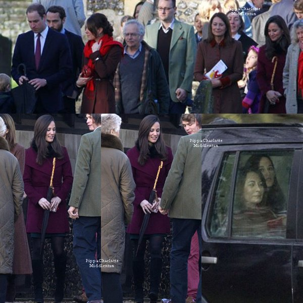 25.12.12: Pippa et sa famille sont allaient à l'église St Marks à Berkshire pour la messe.