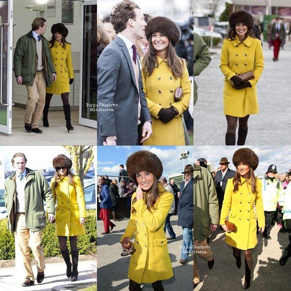 14.03.13: Pippa et des amis ont assistaient au 3eme jour du festival de Cheltenham.