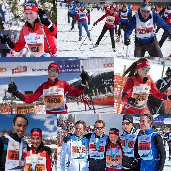 10.03.13: Pippa, son copain Nico Jackson et James ainsi que des amis ont participés à un marathon de ski en Suisse.