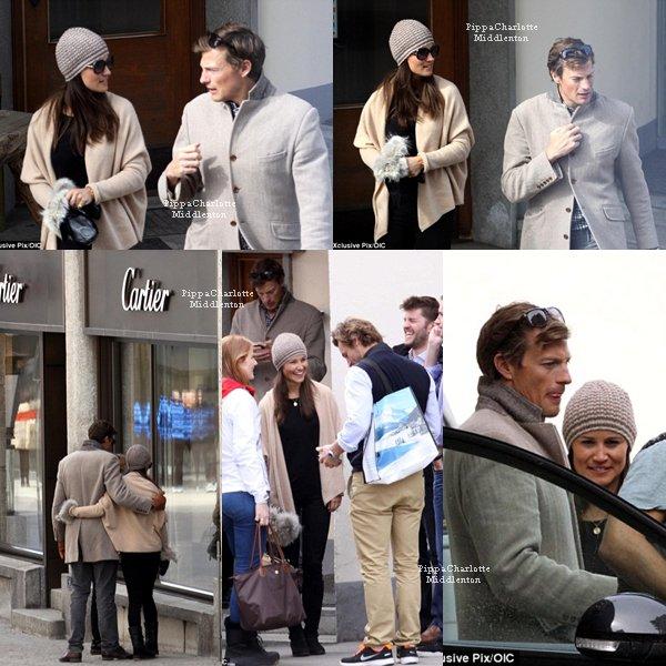 09.03.13: Pippa et son chéri ainsi que des amis dans les rues de St-Moritz en Suisse.