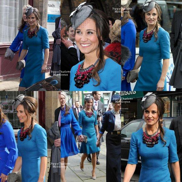 27.04.13: Pippa est aller au mariage de Michael Marsham et Lucy Beaumont qui sont de la haut société.