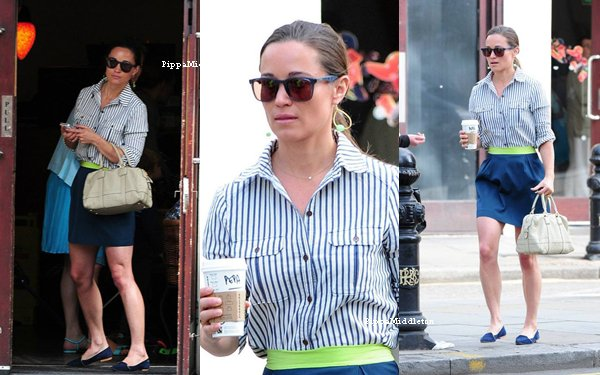 27.06.13: Pippa allant chercher son café  matinal dans un starbucks à Londres.