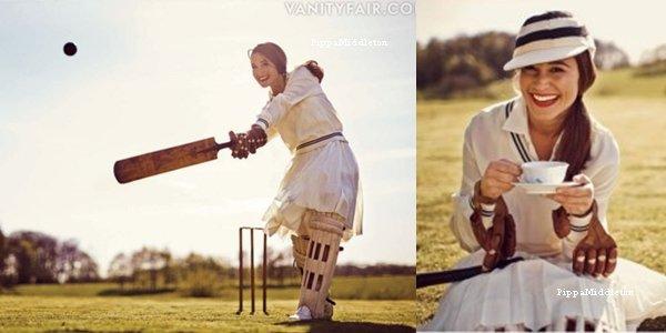 Pippa apparaît dans le magazine Vanity Fair du mois de Septembre pour apprendre aux américains à jouer au cricket.