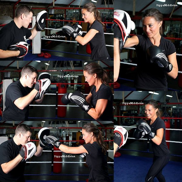 ??.09.13: Pippa s'entraînant au Fitzroy Lodge Amateur Boxing Club à Londres.