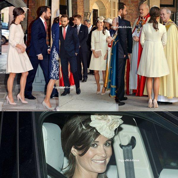 23.10.13: Pippa et sa famille se sont rendu au baptême du petit prince George au Palais St-James.