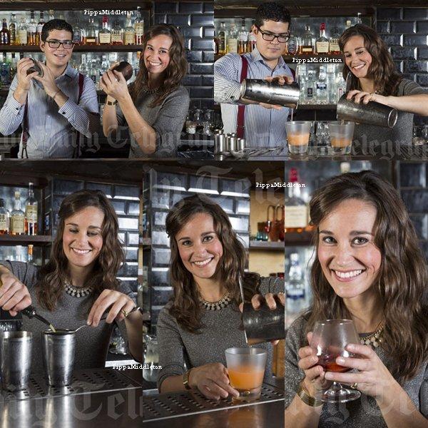 Photoshoot / Pippa s'entraînant à faire des cocktails au Milk & Honey un bar dans Soho.