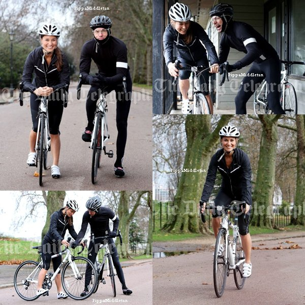 Photoshoot / Pippa et le champion cycliste, Jonathan Edwards faissant du vélo dans le park Battersea