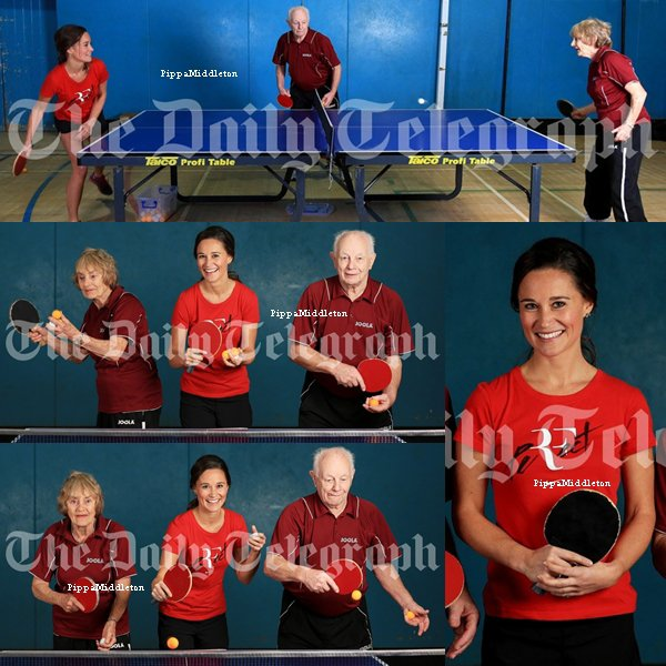 """Photoshoot / Pippa a rendu une petit visite au """"The Kemnal Table Tennis Club"""" avec deux champions de tennis."""