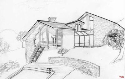 a partir de cette image je vais mettre une srie de dessin de maison et de lieu - Comment Dessiner Une Villa