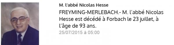 La mort de l'Abbé Hesse Nicolas .