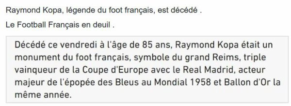 Le Football français en deuil .