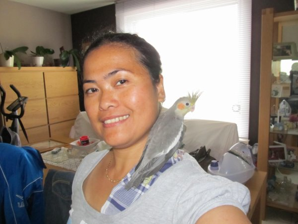 onze Myra op de schouder,jong van 2013