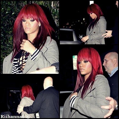 09/01/11 Rihanna quittant le restaurant Giorgio Baldi  dimanche soir.