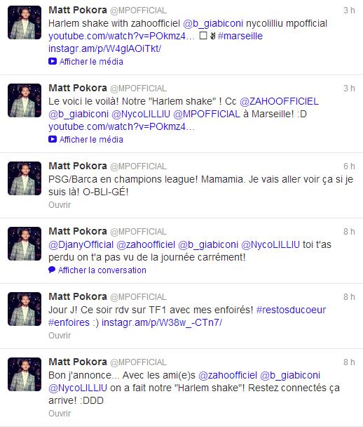 Twitter de Matt du 15/03/2013